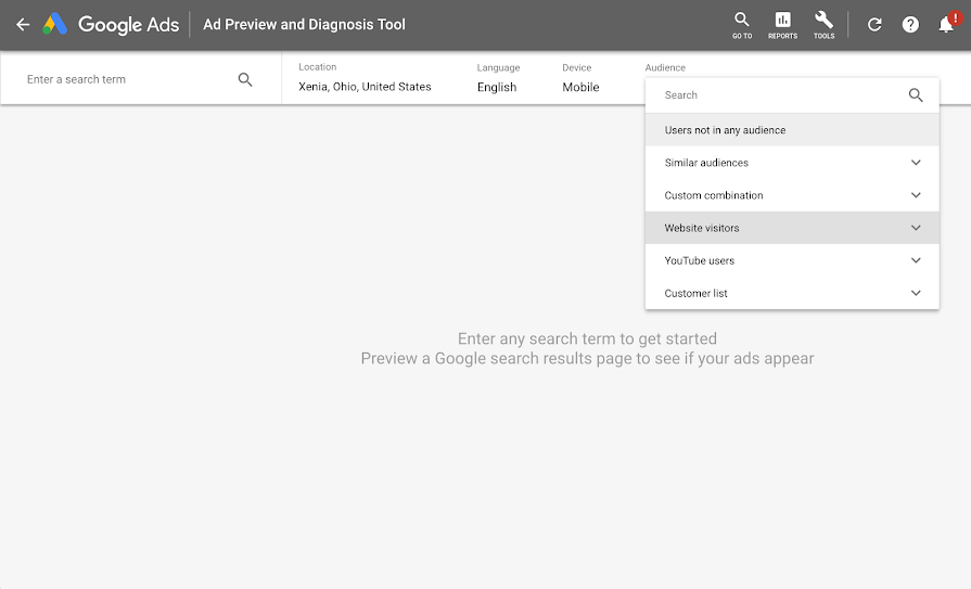 Google Ad preview tool