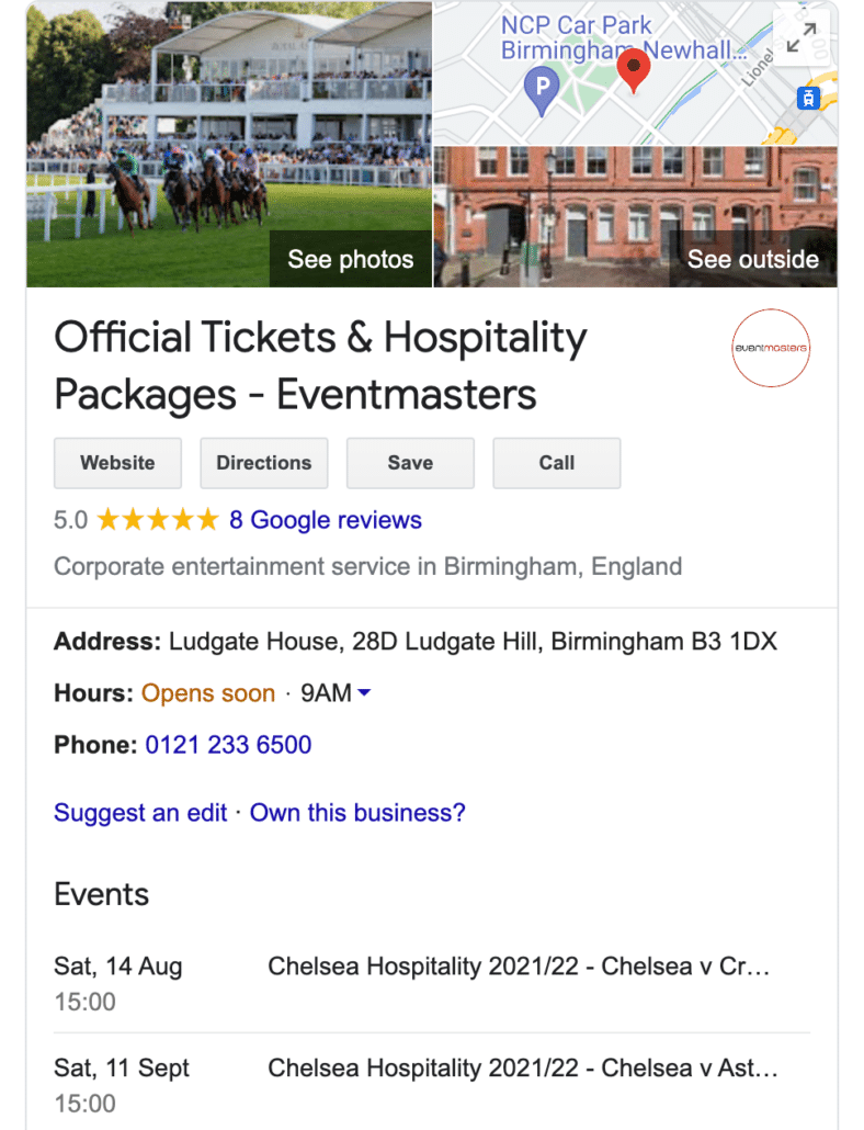Eventmasters Google My Business Page