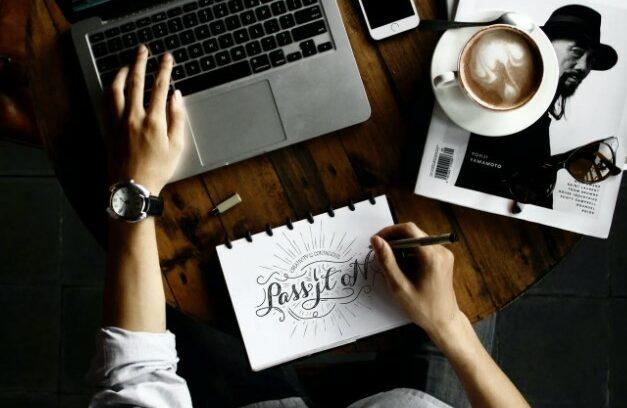 Person designing a logo